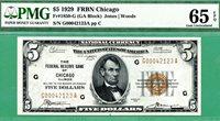1929 $5 FRBN - PMG GEM 65 EPQ - Fr 1850-G CHICAGO - ALMOST JUMBLED LADDER