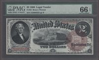 FR. # 52 1880 $2 LEGAL TENDER PMG 66 EPQ. Tied as the best by PMG and PCGS.