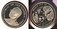 20 Dalasis 1994 Gambia World Cup, Usa 94,football Weltmeisterschaft Silver