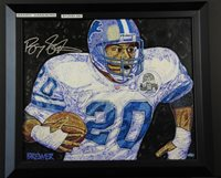 Barry Sanders Autographed Painting