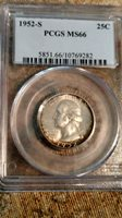 1952 S Washington Quarter certified MS 66 by PCGS! Bullseye Toning