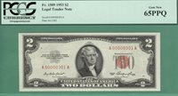 LOW SERIAL A00000301A - 1953 $2 USN - PCGS GEM 65 - Fr 1509 - 1 of 2 CONSECUTIVE