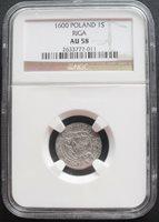 1600 Poland 1S Riga , NGC AU 58, nice silver coin^