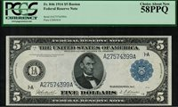 1914 $5 Federal Reserve Note Boston FR-846 - PCGS 58PPQ Choice About New