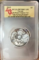 2015 Australia Tuvalu Mythical Creatures 5oz Dragon Silver Coin PCGS PR70 F.S.