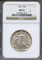 1941 Walking Liberty Half Dollar NGC MS63 ~ 50c (2528922-001)