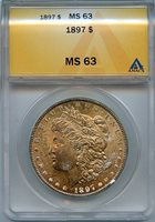 1897 $1 ANACS MS 63 (BU MINT STATE UNCIRCULATED) TONED MORGAN SILVER DOLLAR