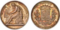 SWITZERLAND. Geneva. (Late 19th Century) AR Medal. NGC MS64. A. Chaponniere. STUDIO ET VIGILANTIA. Student in ancient garb seated left reading from tablet with lyre and lamp on pedestal in background / POST TENEBRAS LUX-SCHOLA GENEVENSIS. Coat of ar