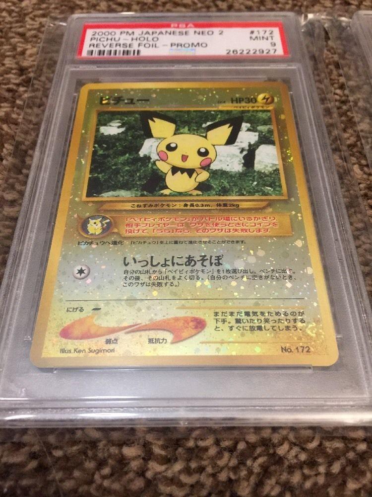 Pokemon PSA GEM MINT 10 Japanese Neo 2 File Reverse Holo Pichu Promo 172 kaartspellen