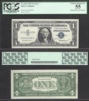 $1 1957 MISMATCHED SERIAL G55/54 Choice About New PCGS 55