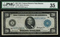 1914 $20 Federal Reserve Note - Boston FR-966 - Graded PMG 35 Choice Very Fine