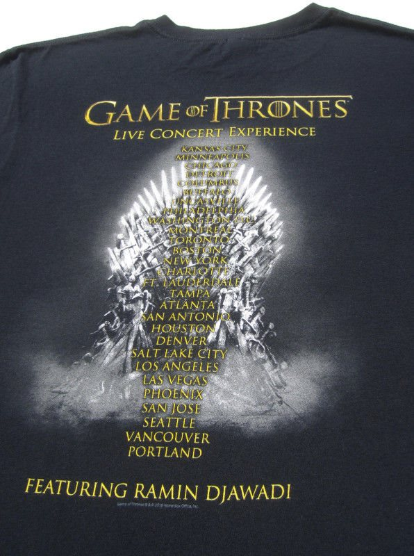 Game Of Thrones Live Concert Tour Large T Shirt