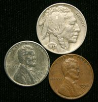 Old US Coin Estate Lot Buffalo Nickel Steel Cent Wheat Cent 3 Coin Set