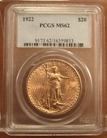 1922 Gold $20 Saint Gaudens Double Eagle Coin ~ PCGS MS62 ~ (#223)