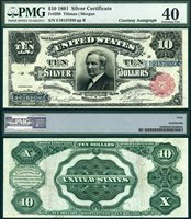 US Currency 1891 $10 Silver Certificate Tombstone Note FR-299