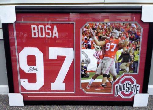 b86b321b Ohio State Buckeyes Joey Bosa Signed Red Jersey Framed & Matted w/Photo PSA  COA