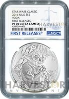 2016 SILVER STAR WARS CLASSIC - YODA - NGC PF70 FIRST RELEASES W/OGP COA
