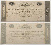 181X $1 United States Obsolete Note Philadelphia Bucks County