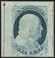 """1c Blue, Ty. IV (9). Position 1R1L, original gum, recut once at top and once at bottom, enormous margins all around including top left corner interpane margins with centerline and dot, part of adjoining stamps at bottom and right, rich colorEXTREMELY FINE GEM. A STUNNING ORIGINAL-GUM EXAMPLE OF THE ONE-CENT 1851 TYPE IV IMPERFORATE WITH ENORMOUS MARGINS SHOWING THE CENTERLINE AND DOT. THIS MAGNIFICENT STAMP IS GRADED SUPERB 98 JUMBO BY P.S.E..Ex """"Beverly Hills"""". This was P.S.E. encapsulated (Sup"""