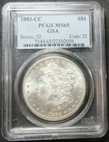 1883-CC GSA HOARD MORGAN SILVER DOLLAR SERIES: 52 COIN: 21 - PCGS MS 65