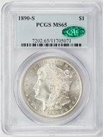 1890-S Morgan Dollar PCGS MS-65 CAC