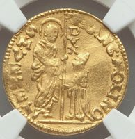 Italian States Venice Francesco Molin gold Zecchino 1646-1655AD NGC AU55