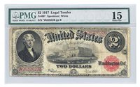 FR 60* $2 SERIES OF 1917 LEGAL TENDER LARGE SIZE STAR NOTE SPEELMAN WHITE PMG 15