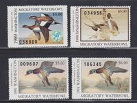 State Hunting/Fishing Revenues - WA - 1989-91 Duck Stamps - 4 Different - MNH