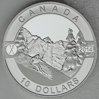Canada 2014 $10 Skiing Canada's Slopes 1/2 oz .9999 Pure Silver Matte Proof Coin