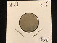 1867 5c Shield Nickel post Civil War used Low grade genuine Type coin / lot 1215