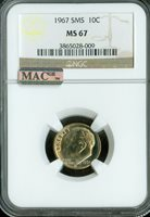 1966 SMS Roosevelt Dime NGC graded MS 68