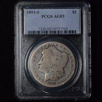 1893-S $1 MORGAN SILVER DOLLAR KEYDATE PCGS AG03
