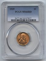 1939 Lincoln Wheat Cent Penny PCGS MS 66 RD Certified - Philadelphia Mint