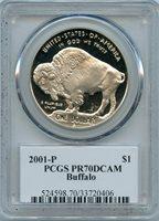 2001 BUFFALO $ PCGS PR 70 DCAM (PROOF) SIGNED EDMUND MOY PF COMMEMORATIVE COIN