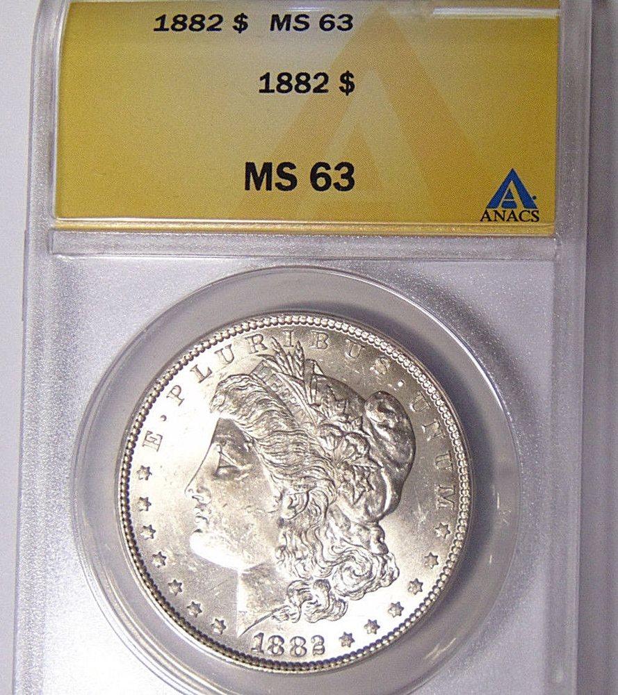 Anacs Ms63 1882 Morgan Silver Dollar Choice Uncirculate
