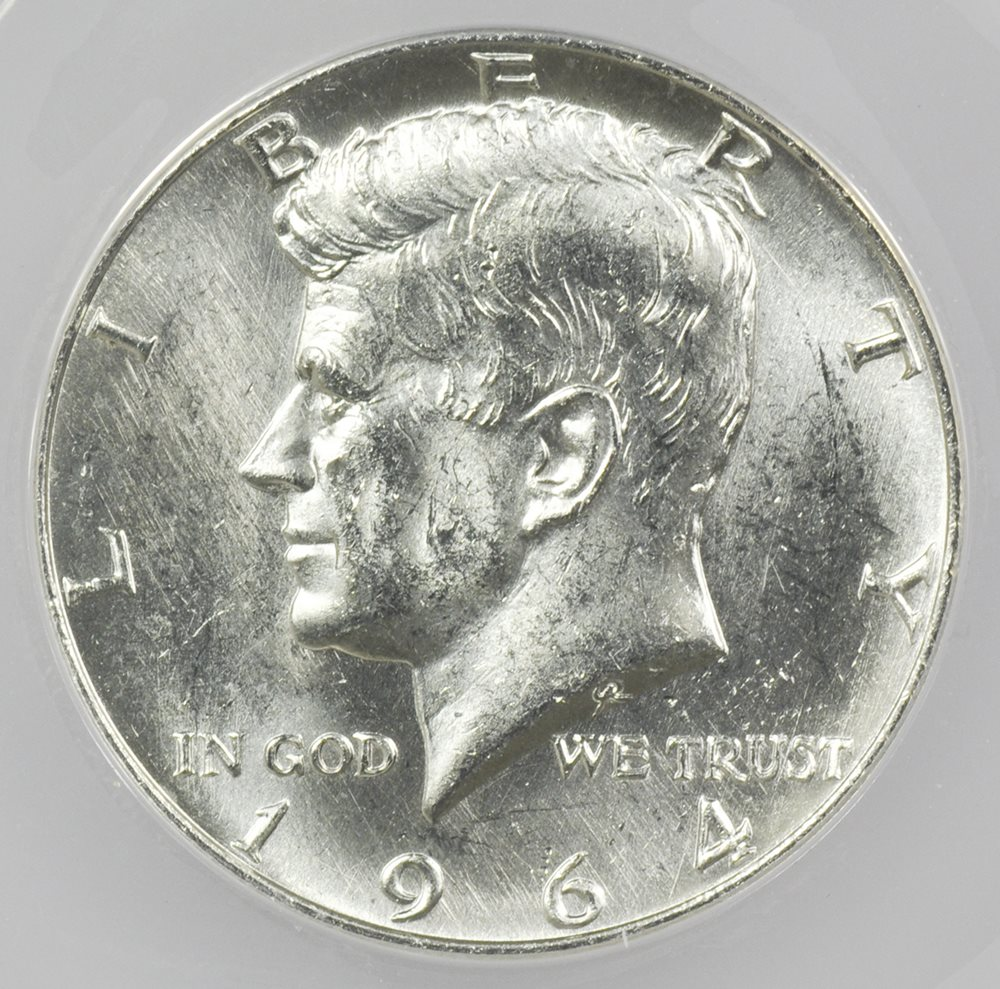 1964-D Kennedy Half Dollar Double Die Obverse ANACS Brilliant Uncirculated  Coin