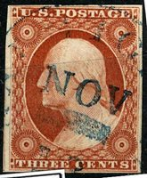 US Scott Number 10 3¢ Orange brown, Pos 58R1i. Stitch Watermark, four margins The horizontal line is a flap and not on stamp Sound and Fault free and a beutiful addition to any collection. Price $200 USD