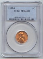 1955-S Lincoln Wheat Cent, PCGS MS-66 RD, Full Red