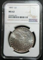 1897 MORGAN SILVER DOLLAR COIN - NGC MS 62