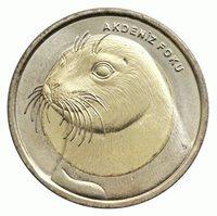 Turkey 1 lira 2013, MEDITERRANEAN MONK SEAL, BiMetal, Commemorative,UNC, Coin
