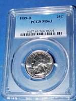 1989-D 25C Washington Quarter-PCGS MS 63--456-1