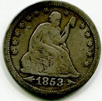 1853 Liberty Seated Quarter F - Arrows