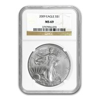 2009 $1 SILVER EAGLE - NGC MS 69