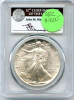 1986 $1 Silver Eagle First Strike Mercanti Signature MS69 PCGS