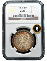 1829-P EVEREST CAPPED BUST HALF NGC MS 66 STAR