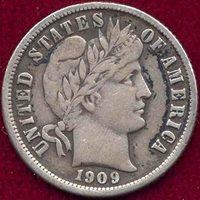 1909-O BARBER 10c VF+