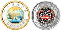 Two Canadian Beautiful Toonie 2 Dollars Coins, Silver & Grizzly, UNC, 2020