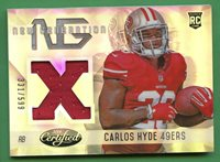 CARLOS HYDE 2014 CERTIFIED NEW GENERATION RELIC /599 49ERS (SEAHAWKS)