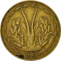 West African States, 10 Francs, 1967, VF(20-25), Aluminum-Nickel-Bronze, KM:1a