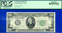 FR-2056-H 1934-B $20 FRN (( St. Louis Vinson )) PCGS Gem 65PPQ # H30118736A.
